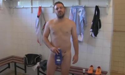 rugby player teaching how to take a shower when you are shy