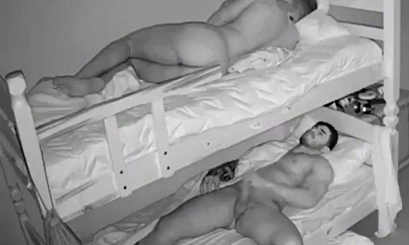 guy caught jerking off in hostel room