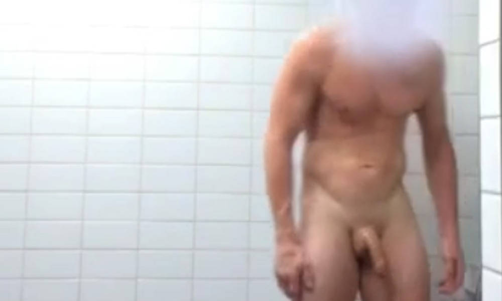muscle daddy caught naked in shower