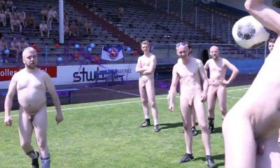 naked footballers on the pitch