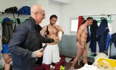 footballer caught naked during locker room celebration