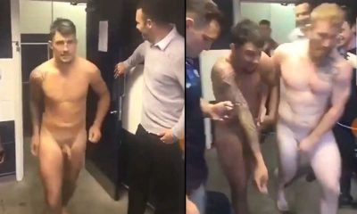 naked ruggers running out of the shower