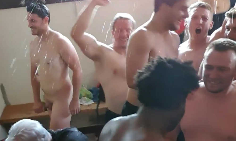 rugby guys caught naked during locker room celebration