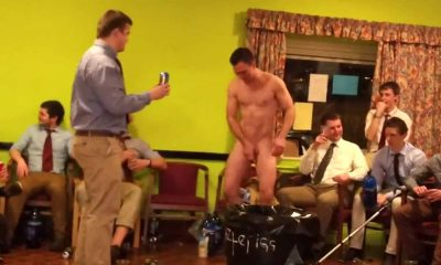 rugby lad newbie stripped naked for initiation