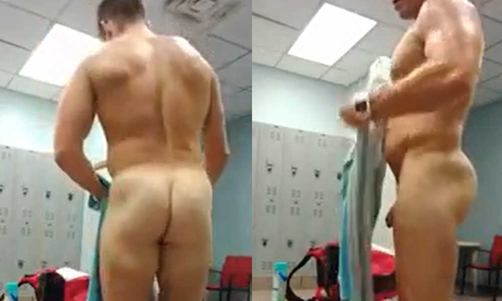 fit man caught naked in gym locker room by spycam