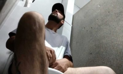 sexy hairy stud caught jerking in public restroom